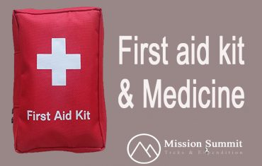 First aid kit and Medicine for a Himalayan trek